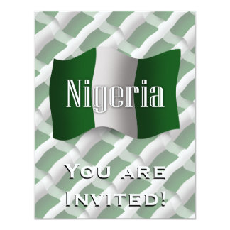 Nigeria Waving Flag 11 Cm X 14 Cm Invitation Card