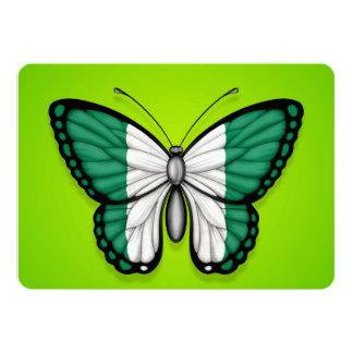 Nigerian Butterfly Flag on Green 13 Cm X 18 Cm Invitation Card