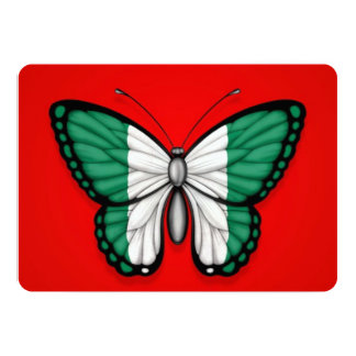 Nigerian Butterfly Flag on Red 13 Cm X 18 Cm Invitation Card
