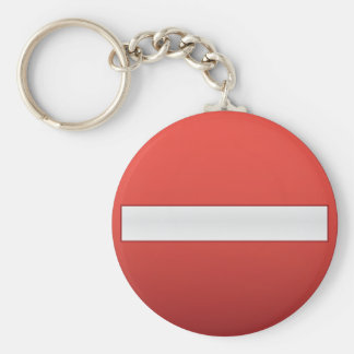 No entry road sign basic round button key ring