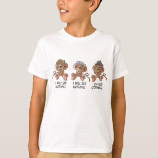 No Evil Monkeys   Cartoon Tshirt