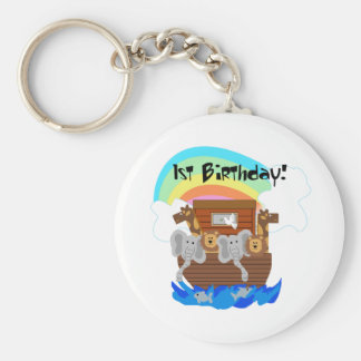 Noah's Ark 1st Birthday Tshirts and Gifts Basic Round Button Key Ring