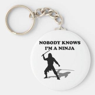 Nobody Knows I'm A Ninja Basic Round Button Key Ring