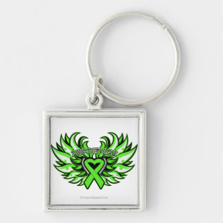 Non-Hodgkin's Lymphoma Awareness Heart Wings.png Silver-Colored Square Key Ring