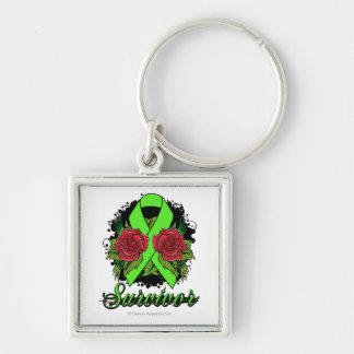 Non-Hodgkin's Lymphoma Survivor Rose Grunge Tattoo Silver-Colored Square Key Ring