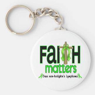 Non-Hodgkins Lymphoma Faith Matters Cross 1 Basic Round Button Key Ring