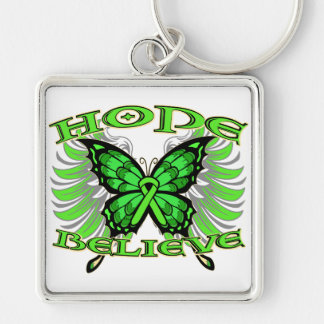 Non-Hodgkins Lymphoma Hope Believe Butterfly Silver-Colored Square Key Ring
