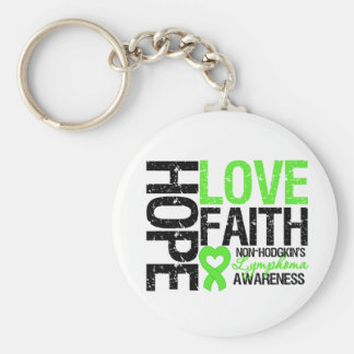 Non-Hodgkin's Lymphoma Hope Love Faith Basic Round Button Key Ring