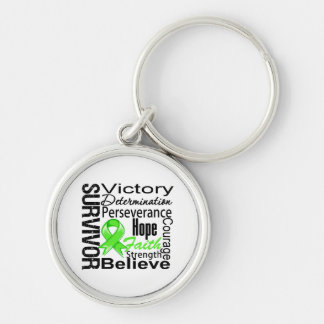 Non-Hodgkins Lymphoma Survivor Collage Silver-Colored Round Key Ring