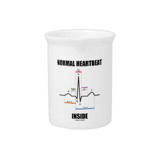 Normal Heartbeat Inside ECG EKG Electrocardiogram Beverage Pitchers