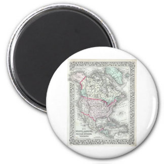 North America and the United States Antique Map 6 Cm Round Magnet