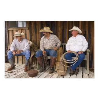North America, USA. Cowboys relaxing and Photo Art