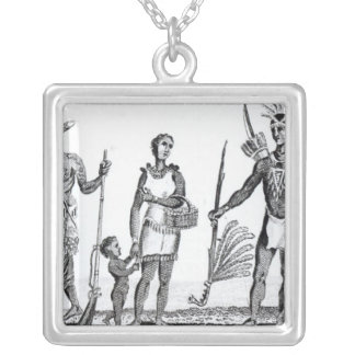North American Indians Square Pendant Necklace