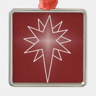 Northern Star Premium Square Ornament, Red Silver-Colored Square Decoration