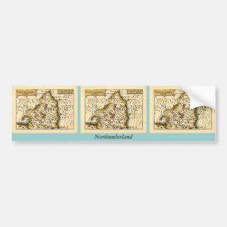 Northumberland County Map, England Bumper Sticker