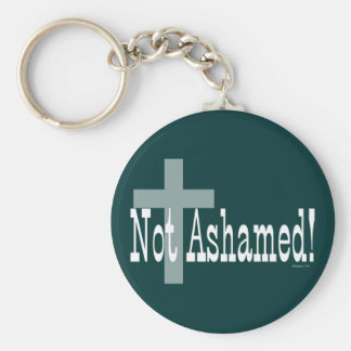Not Ashamed! Romans 1:16 (with Cross) Basic Round Button Key Ring