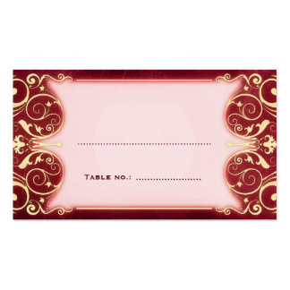 Nouveau Victorian: Red & Gold Table Escort Card Pack Of Standard Business Cards