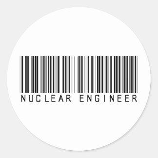 Nuclear Engineer Bar Code Round Sticker