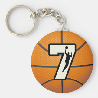 Number 7 Basketball and Player Basic Round Button Key Ring