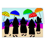 "Nuns With Umbrellas ""Expecting Rain"" Greeting Card"