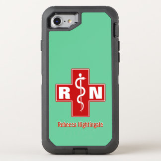 Nurse Cross Initials Name Template OtterBox Defender iPhone 7 Case