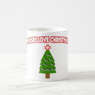Nurses Love Christmas Basic White Mug