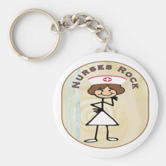 Nurses Rock Basic Round Button Key Ring