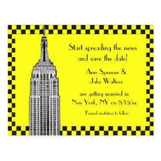 NYC Skyline Etched ESB Checkrd Taxi Save Date Postcard