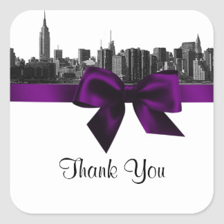 NYC Wide Skyline Etched BW Purple Favor Tag #2 Square Sticker