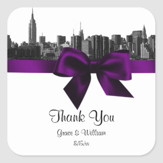 NYC Wide Skyline Etched BW Purple Favor Tag Square Sticker