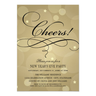 NYE Party Invitations   Champagne Cheers Theme
