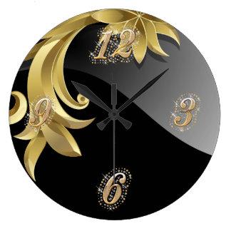 Obsidian Bling Wall Clock