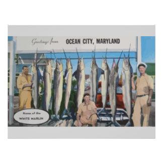 Ocean City, Maryland Home Of The White Marlin, Vin 21.5 Cm X 28 Cm Flyer