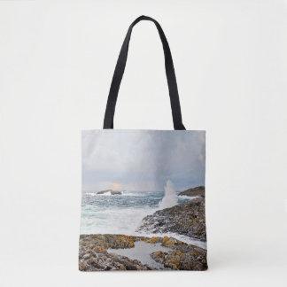 Ocean waves seascape after a storm tote bag