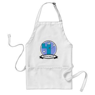 Officially 4 Birthday Banner Standard Apron