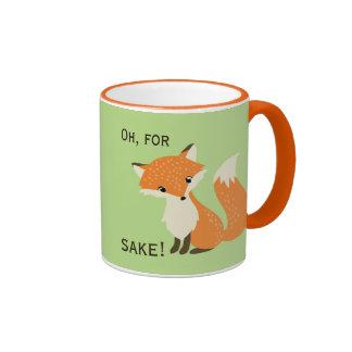 Oh, For Fox Sake Green and Orange Ringer Mug