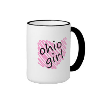 Ohio Girl with Scribbled Ohio Map Ringer Mug
