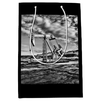 Oil Pumping Unit (Pumpjack) in Black and White Medium Gift Bag