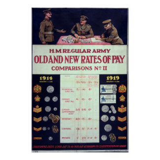 Old and new rates of pay WWI Poster