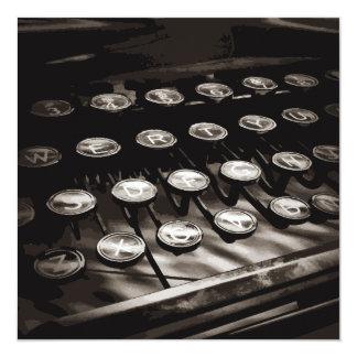 Old Antique Typewriter Keys Black White 13 Cm X 13 Cm Square Invitation Card