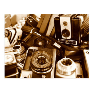 Old cameras at thrift shop postcard