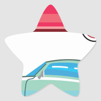 Old Fashioned Coupe Car Star Sticker