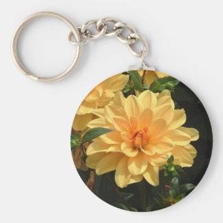 """""""Old Fashioned Orange Dahlia"""" Basic Round Button Key Ring"""