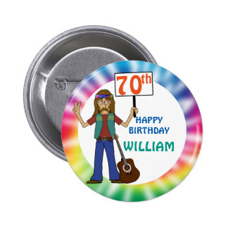 Old Hippie Hippy Tie Dye 70th Birthday Party 6 Cm Round Badge
