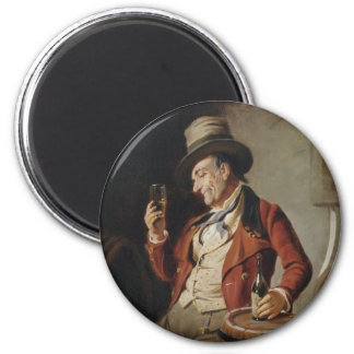 Old Man Drinking Beer Painting 6 Cm Round Magnet