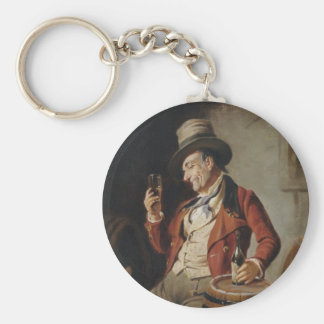 Old Man Drinking Beer Painting Basic Round Button Key Ring