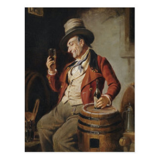 Old Man Drinking Beer Painting Postcard
