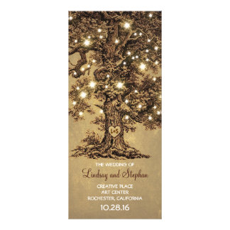 old oak tree rustic wedding programs personalised rack card