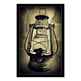 old oil lamp poster