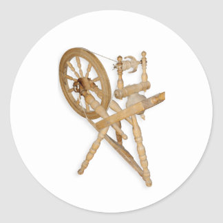Old spinning-wheel round sticker